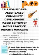 Call for Stories: Asset-Based Community Development (ABCD) edition of IACD's Practice Insights Magazine