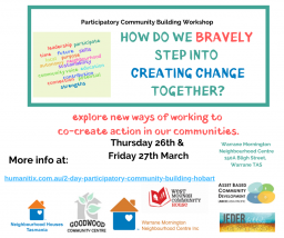 2 day Art of Participatory Community Building Workshop – Hobart, Tasmania
